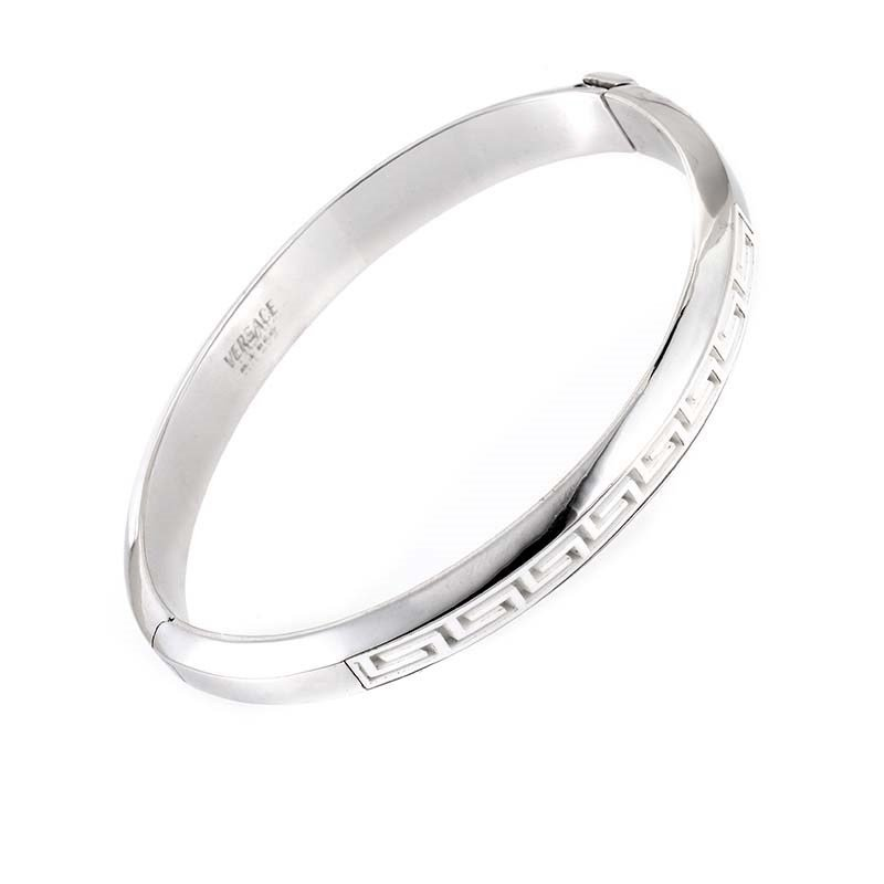 Versace 18K White Gold Bangle Bracelet  This bangle