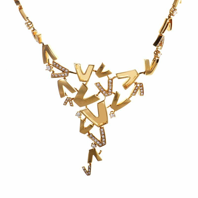 Versace V-Divine 18K Yellow Gold & Diamond Necklace