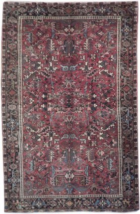 Old-world 7' X 10' Antique Real Persian Heriz Area Rug