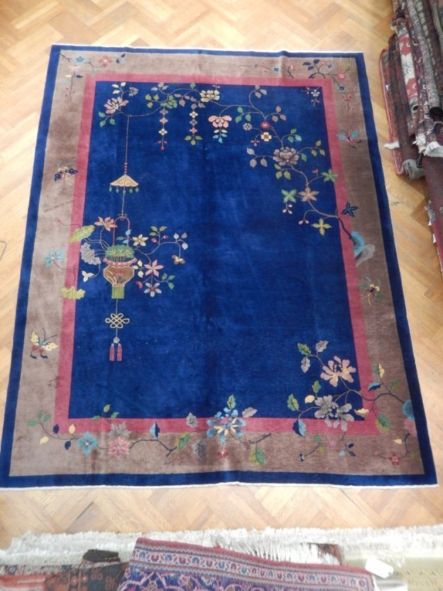 Antique Art Deco Organic Wool Hand Knotted 9x12 Chinese