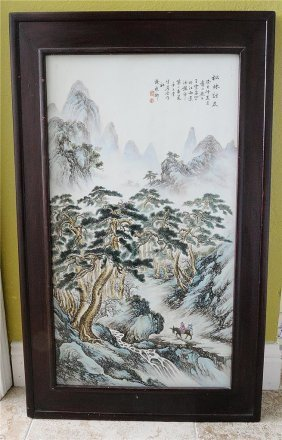 Large Chinese Famille Rose Porcelain Plaque
