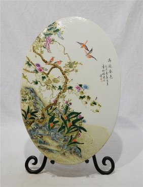 Chinese Oval Shape Famille Rose Porcelain Plaque