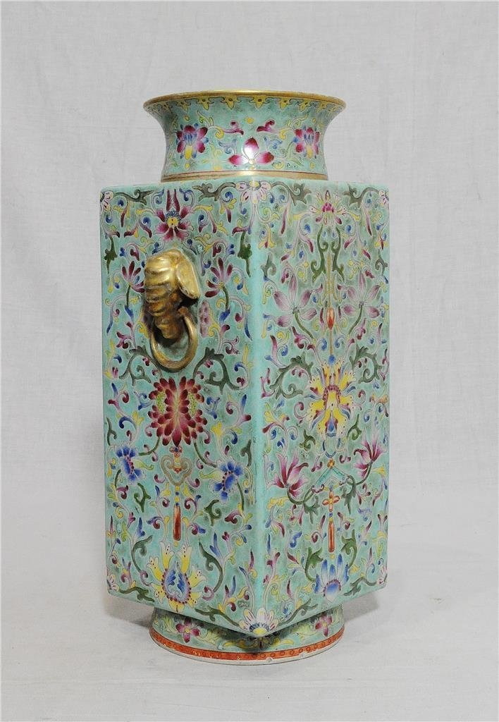 Chinese Famille Rose Porcelain Square Vase With Studio