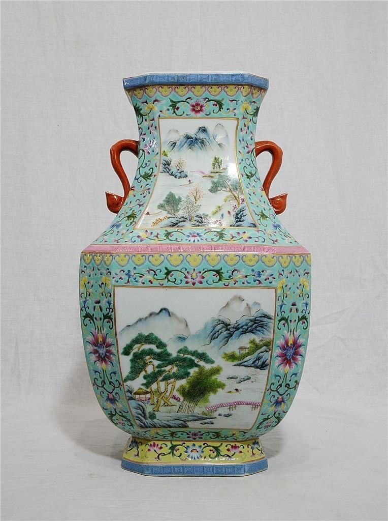 Large Chinese Famille Rose Porcelain Vase With Studio
