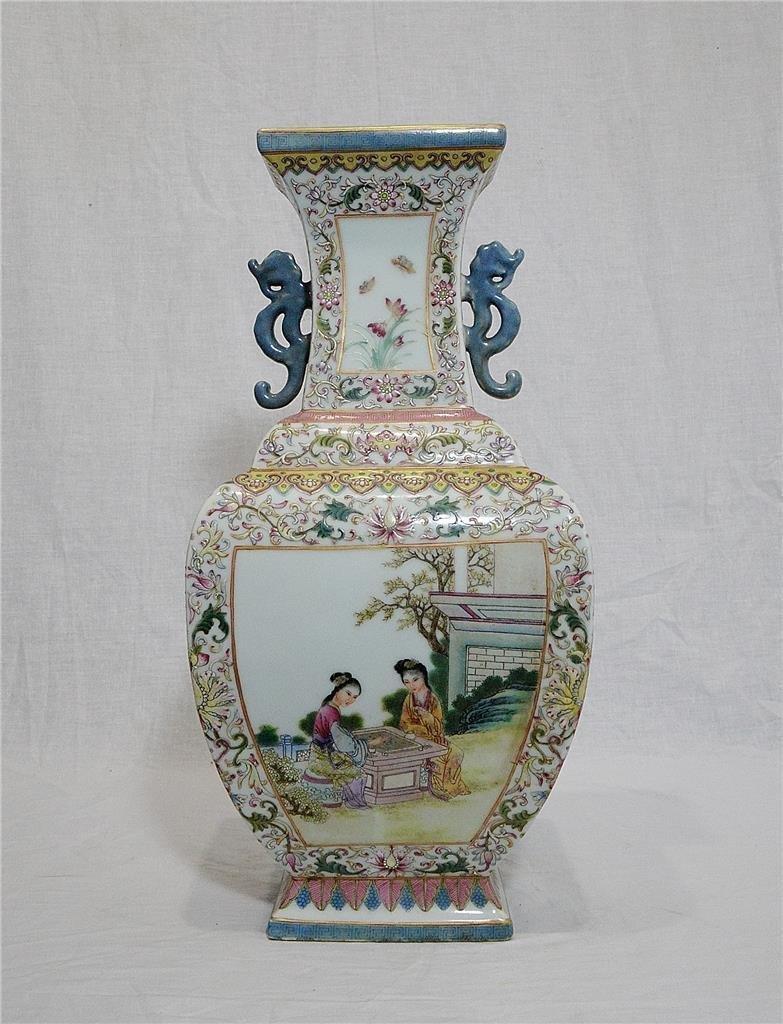 Large Chinese Famille Rose Porcelain Vase With Mark