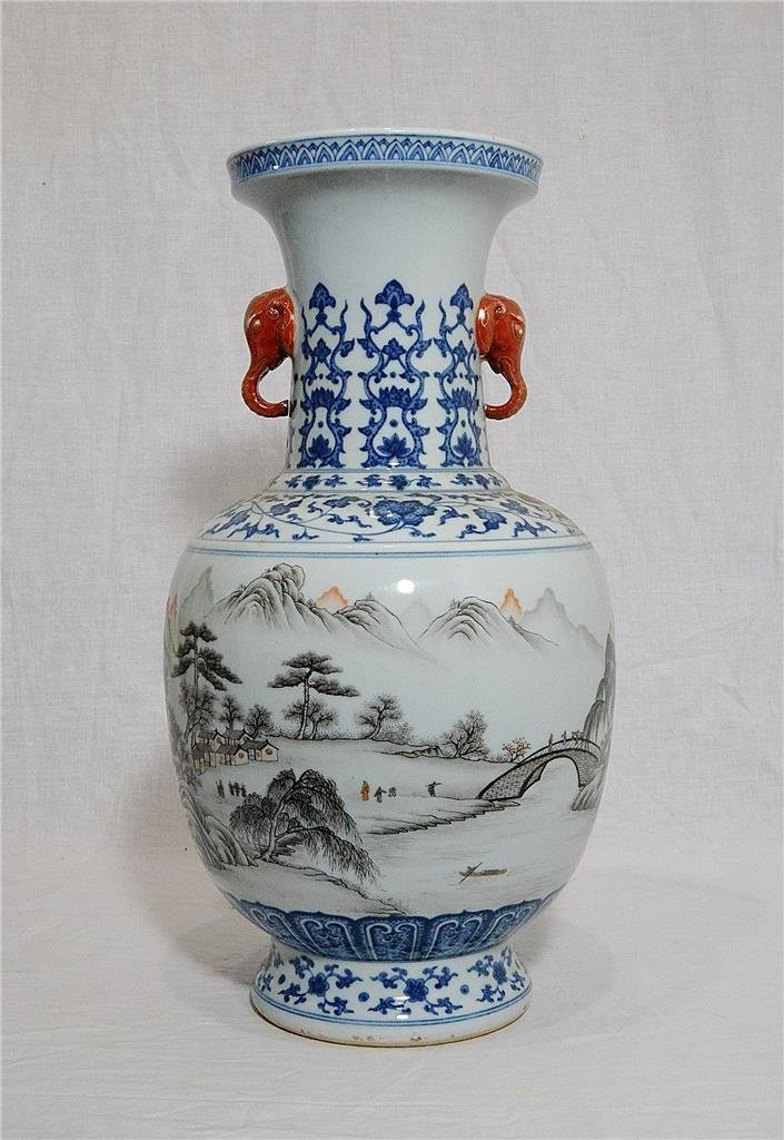 Chinese Blue and White With Famille Rose Porcelain Vase