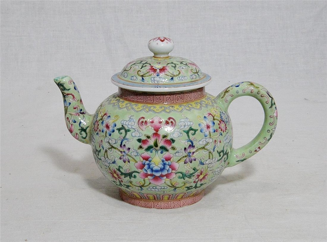 Chinese Famille Rose Porcelain Teapot With Studio Mark