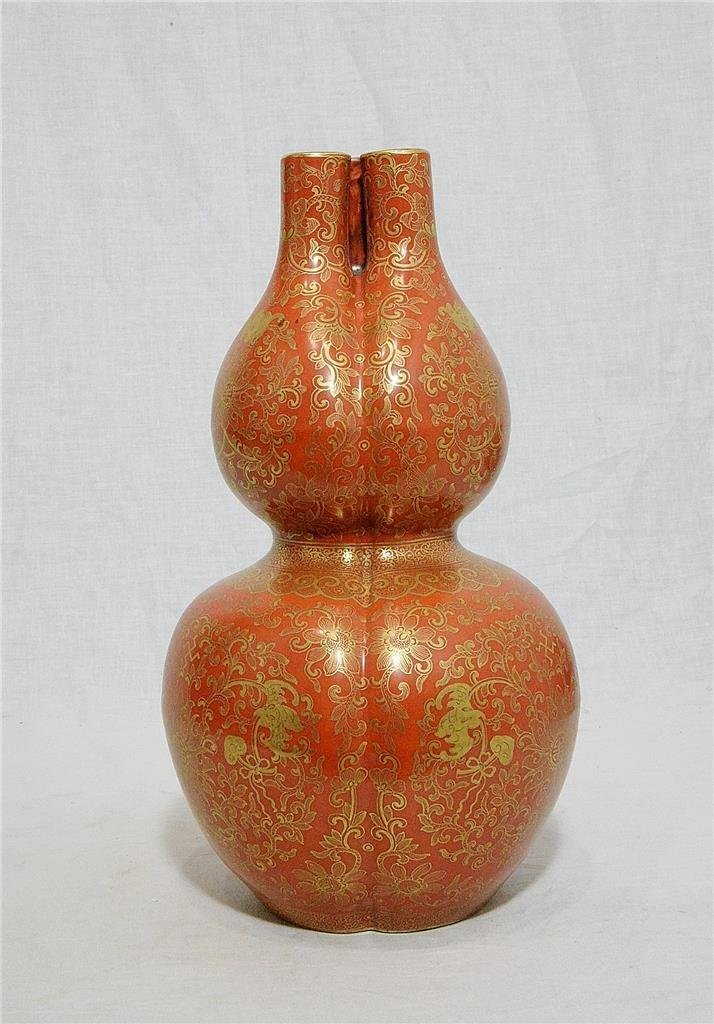 Chinese Monochrome Red Glaze Porcelain Gourd Vase