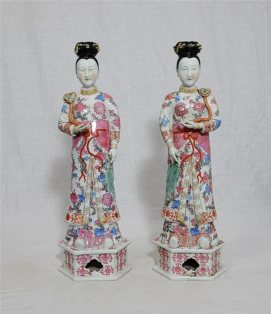 Pair of Chinese Famille Rose Porcelain Lady Figures