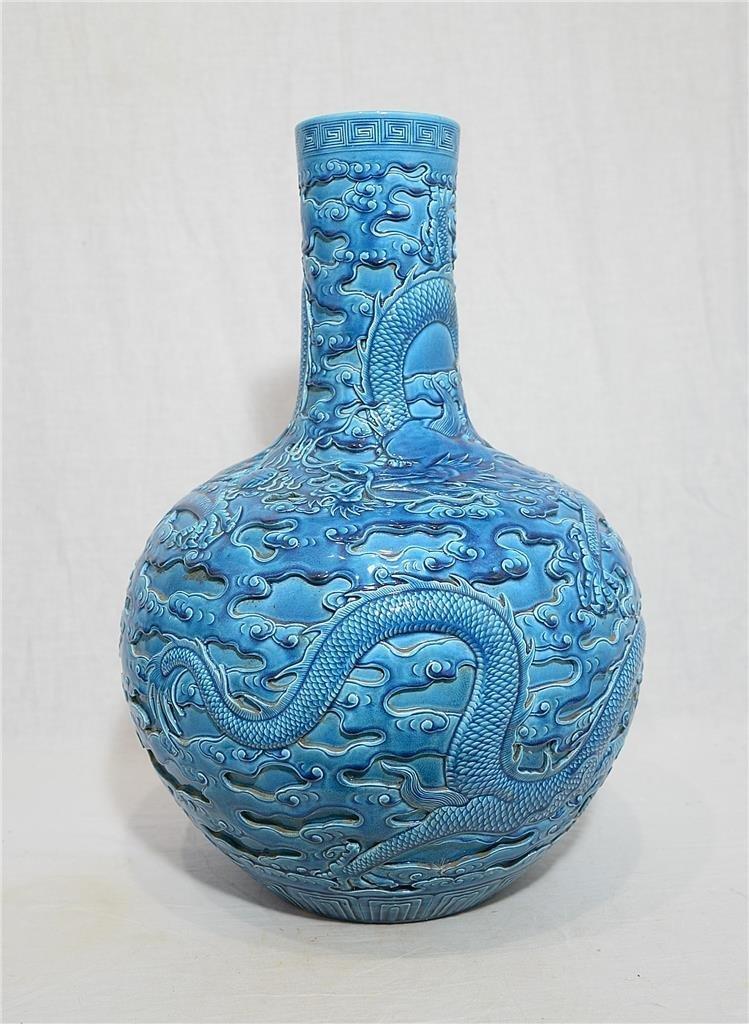 Large Chinese Monochrome Blue Glaze Porcelain Vas