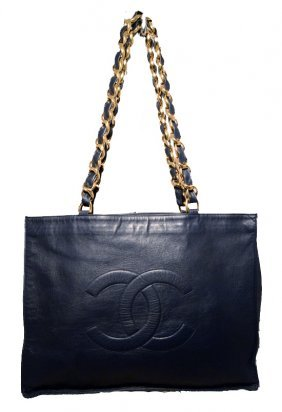 Chanel Navy Blue Leather Quilted Cc Logo Shopper Tote