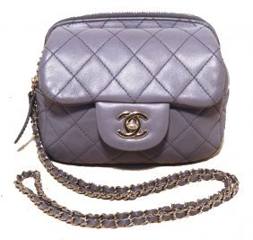 Chanel Lilac Leather Wallet On A Chain Woc