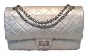 Chanel Silver Leather Jumbo 2.55 Double Flap Classic