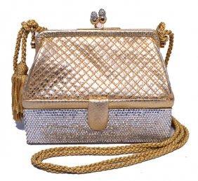 Judith Leiber Gold Leather And Swarovski Crystal