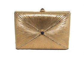 Judith Leiber Gold Starburst Box Minaudiere Clutch