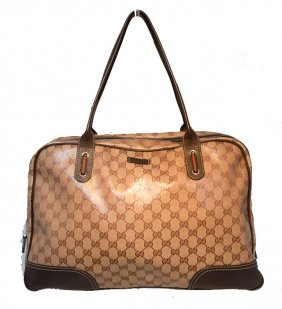 Gucci Coated Monogram Canvas Zippered Travel Tote