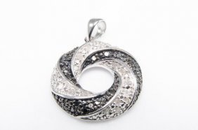 Black And White Diamond Studded Sterling Silver Pendant