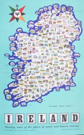 Anon. Irish Tourist Board Ireland Map Showing Places