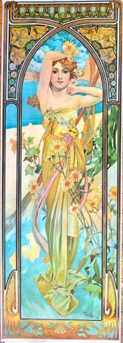"Alfonse Mucha 1862 - 1937 From ""time Of Day"". #2 1975"