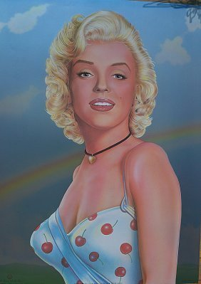 Marilyn Monroe Cherry On Silver, By Monte Dolack 1982