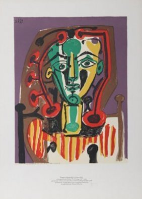 """Pablo Picasso """"le Corsage Raye""""1949 Set Of 2 Spacial"""