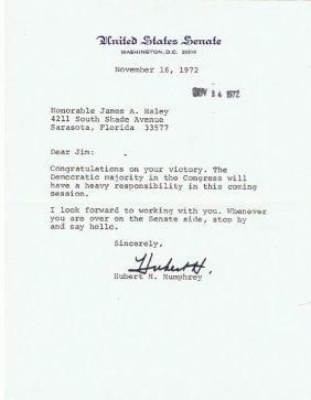 Hubert Humprey 6x8 Tsl 11/16/1972 Us Senate
