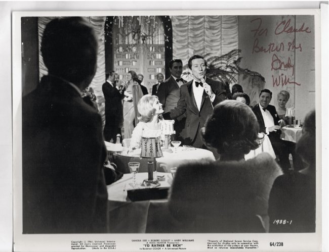 Andy Williams - 8x10 Photo W/ Certificate
