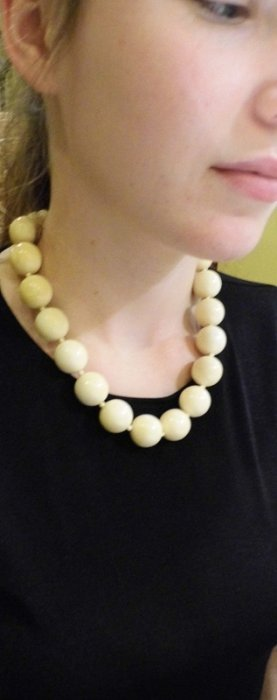Vintage Ivory Bead Necklace 19 Inch Necklace With