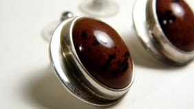 Taxco Mexico Sterling Silver Agate Post Earrings About