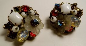Vintage 1930's Bohemian Glass Clip Earrings Mix Of