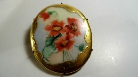 Antique Victorian Hand Painted Porcelain Brooch Circa
