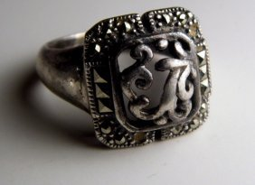 Vintage Sterling Silver Marcasite Incised Floral Ring
