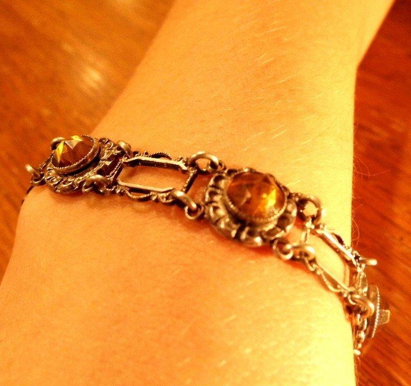 Sterling Silver Bracelet Citrine Stones Amber  Set