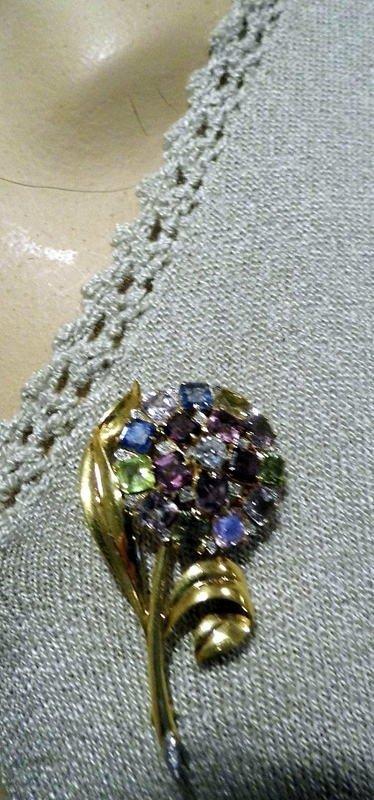 14 Karat Gold Floral Brooch Diamonds Sapphires  Set