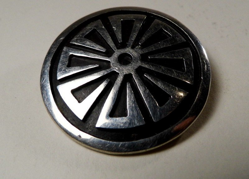 Mexican Zuni Style Taxco Sterling Silver Brooch