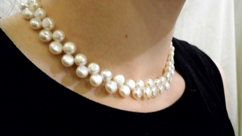 Double Strand Cultured Blister Pearl Collar Necklace