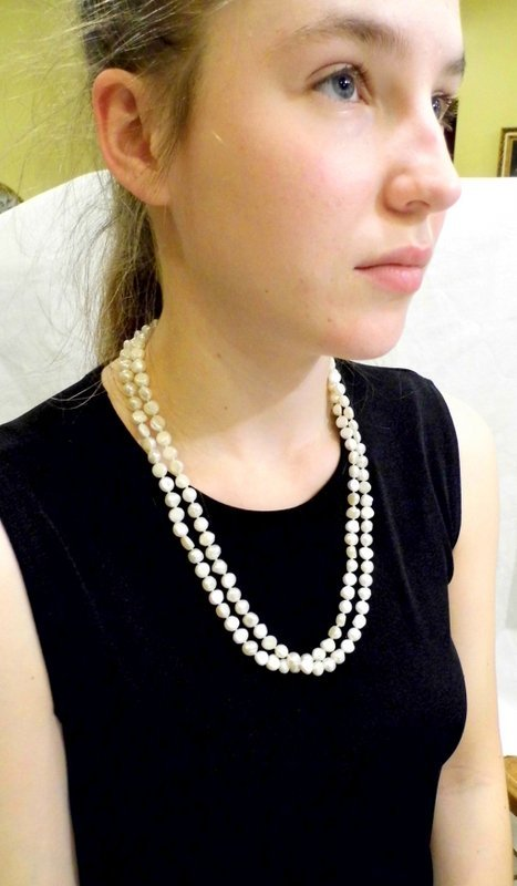 Double Strand White Pearl Necklace 48 Inch  Long strand