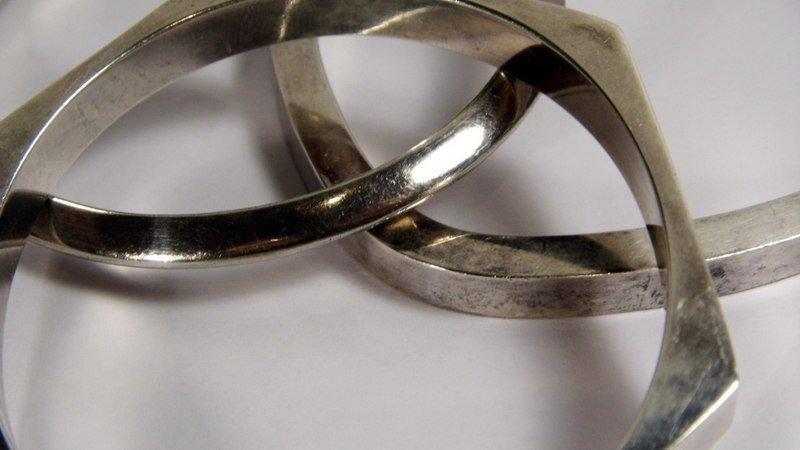 3 Sterling Silver Bangle Bracelets  In various