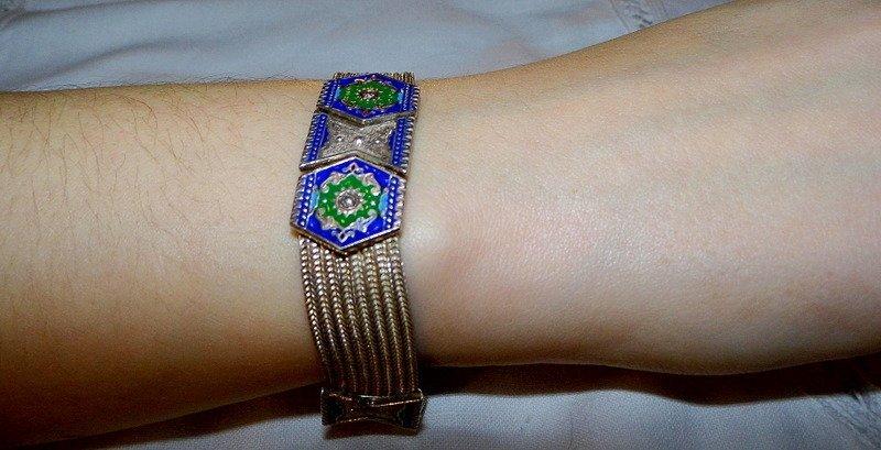 Sterling Silver Enamel Maille Bracelet  Unique