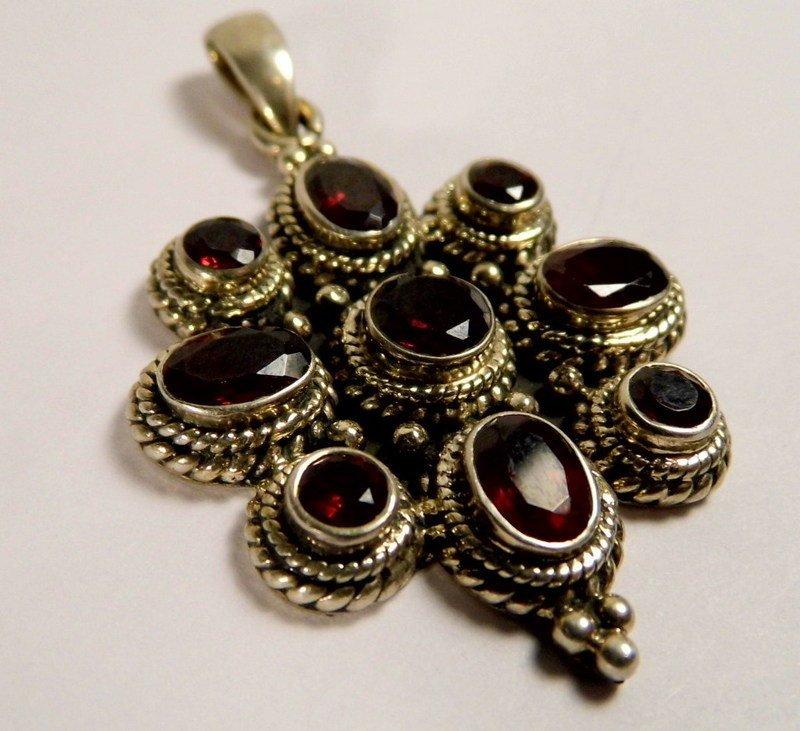 Sterling Silver Garnet Necklace Pendant Stylized Cross