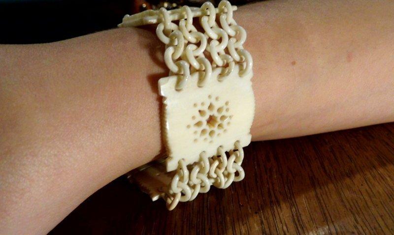 Vintage Relief Carved Incised Asian Ivory Bracelet  No