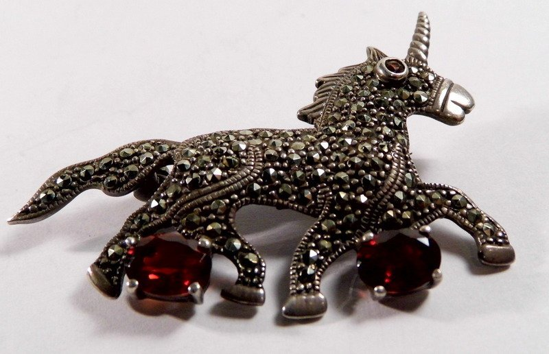 Cut Garnet Sterling Silver Marcasite Brooch Unicorn