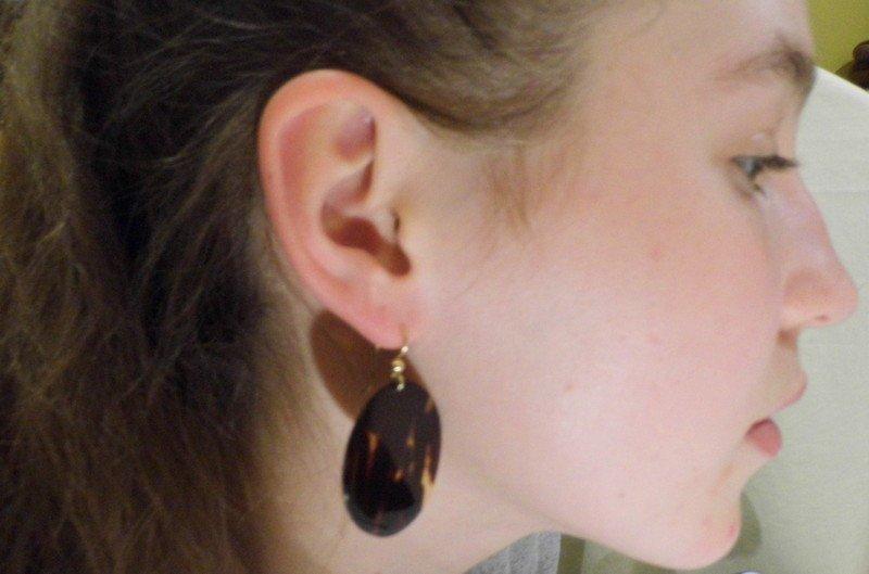 Vintage Mid-Century Modern Tortoise Shell Disc Earrings