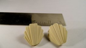 Art Deco Carved Ivory Clip Earrings Stylized Shell