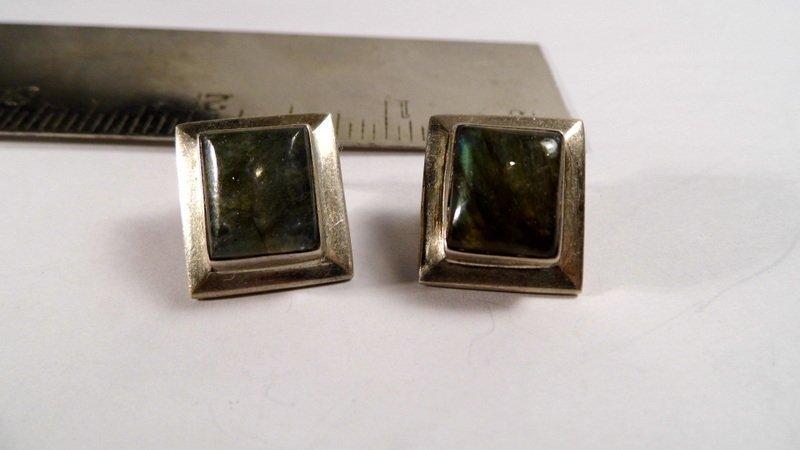 Vintage Sterling Silver &Tourmaline Post Earrings