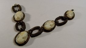 Antique Necklace Remnant Hand Carved Italian Shell