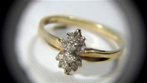 Vintage 10 Karat Gold Ladies Dinner Ring Diamond