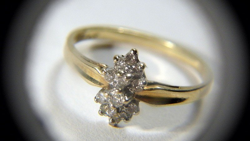 Vintage 10 Karat Gold Ladies Dinner Ring Diamond