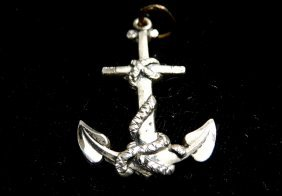 Sterling Silver Nautical Necklace Pendant Anchor Nice