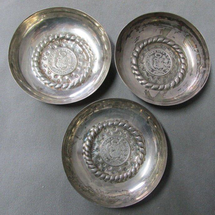 3 c1908  Peruvian Silver Coin Cups Peru, South American